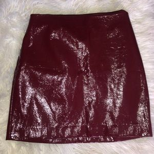 Burgundy Leather Skirt from Express